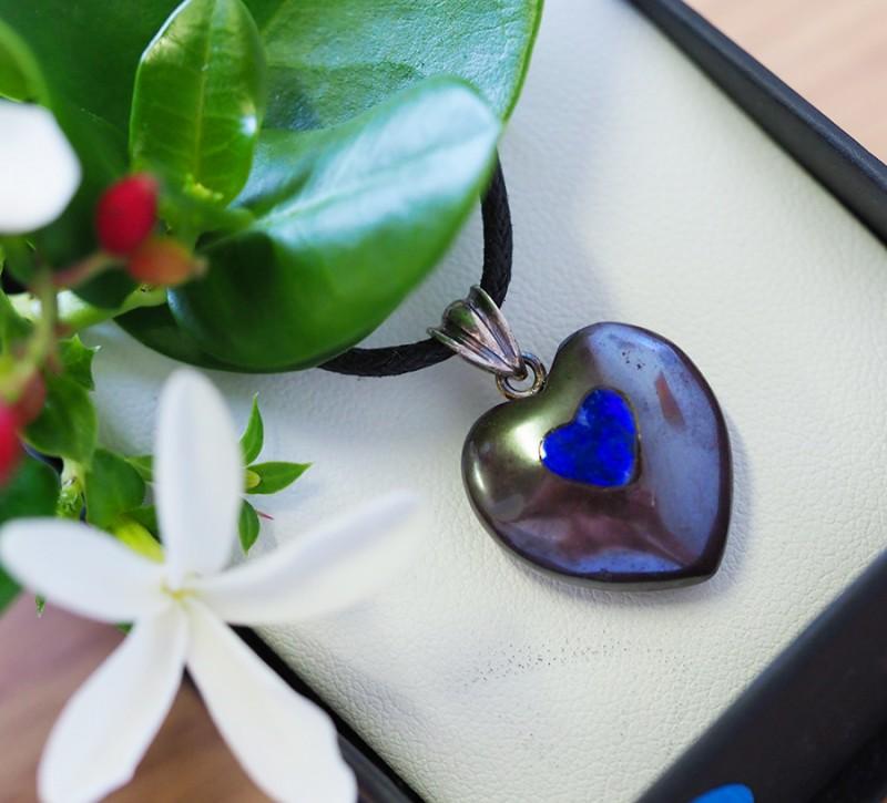 Lovers opal inlay Heart Pendant  SU 10