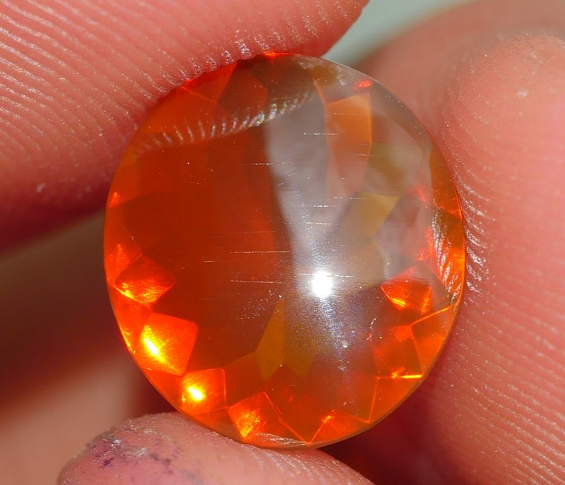 1.35 CRT FIRE OPAL BROWN ORANGE COLOR FACETED INDONESIAN OPAL