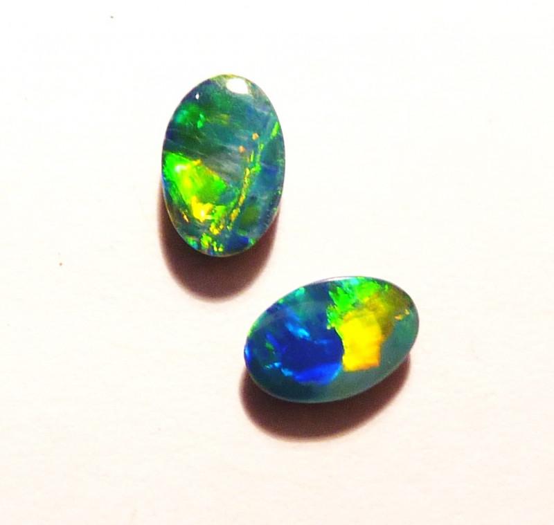 Pretty pair of Australian Opal Doublets 6x4mm Gem Grade (3023)