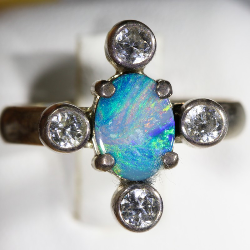 6.5 SIZE  FIREY OPAL  DOUBLET RING SILVER WITH CUBIC ZIRCONIA [SOJ6301]