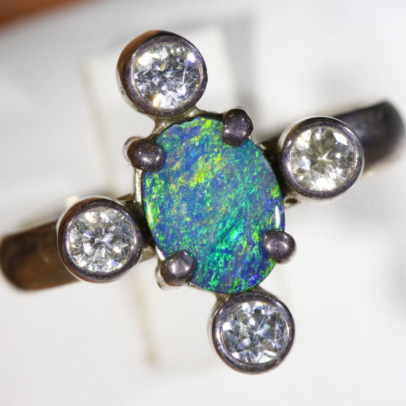 7.5 SIZE  FIREY OPAL  DOUBLET RING SILVER WITH CUBIC ZICONIA [SOJ6302]
