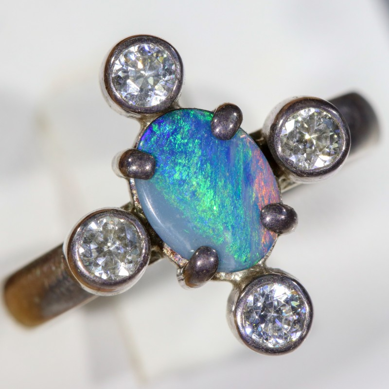 7 SIZE  FIREY OPAL  DOUBLET RING SILVER WITH CUBIC ZICONIA [SOJ6303]