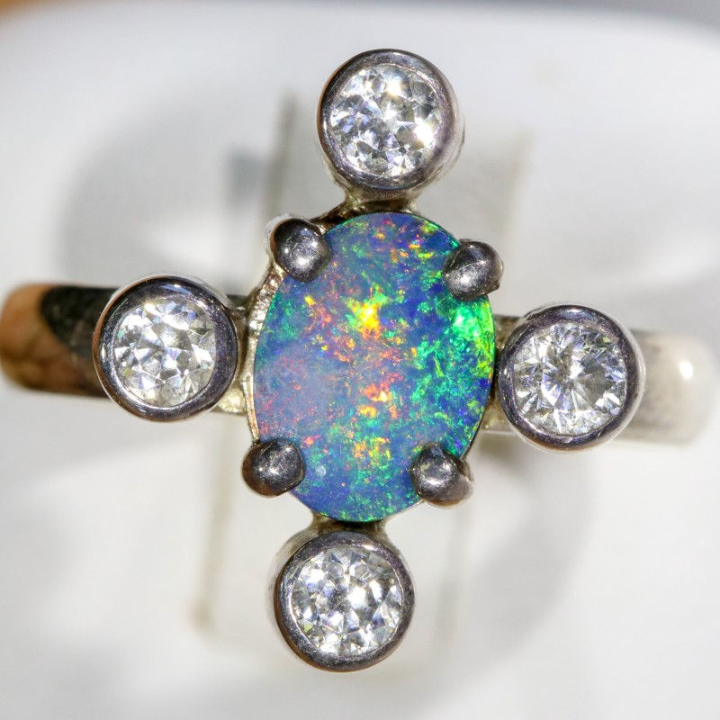 6.5 SIZE  FIREY OPAL  DOUBLET RING SILVER WITH CUBIC ZICONIA [SOJ6304]