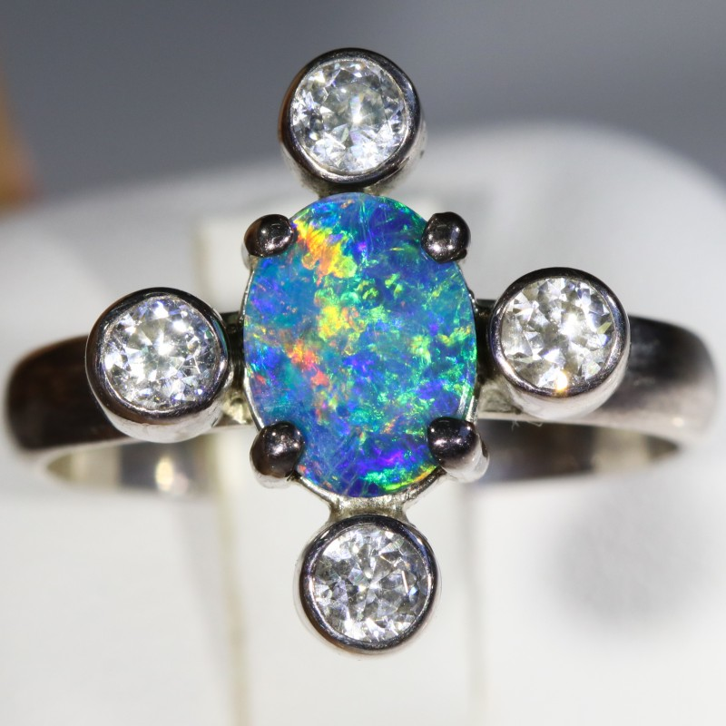 6.5 SIZE  FIREY OPAL  DOUBLET RING SILVER WITH CUBIC ZICONIA [SOJ6305]