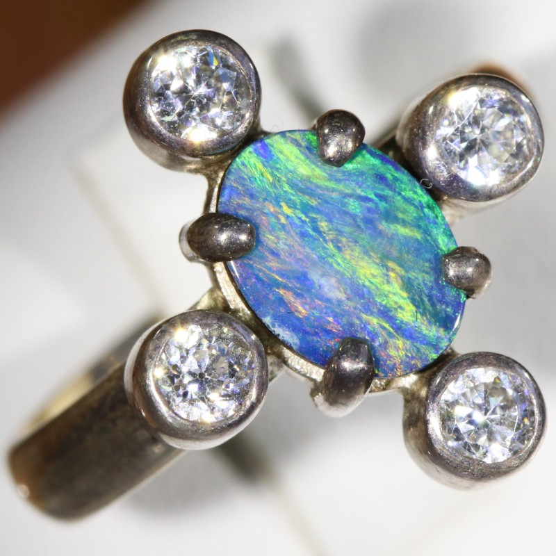 6.5 SIZE  FIREY OPAL  DOUBLET RING SILVER WITH CUBIC ZICONIA [SOJ6306]