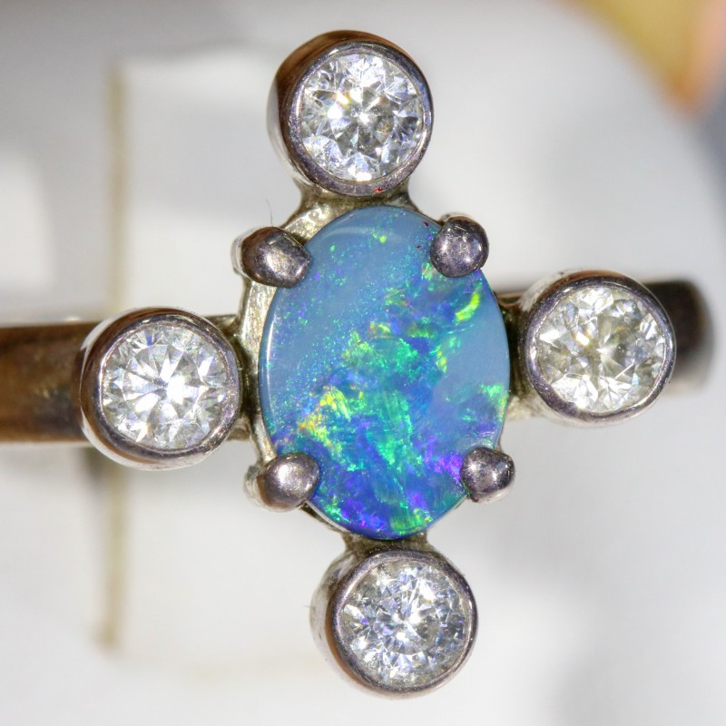 7.5 SIZE  FIREY OPAL  DOUBLET RING SILVER WITH CUBIC ZICONIA [SOJ6307]