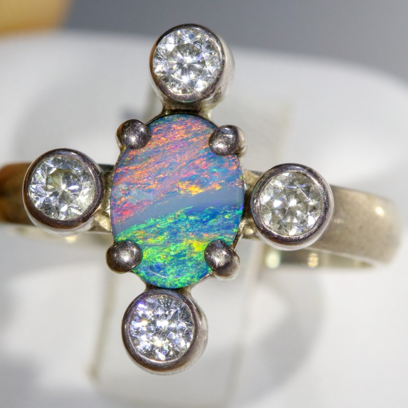 6.5 SIZE  FIREY OPAL  DOUBLET RING SILVER WITH CUBIC ZICONIA [SOJ6308]