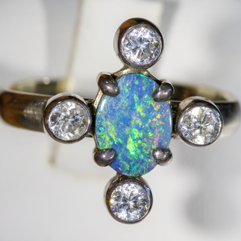 7.5 SIZE  FIREY OPAL  DOUBLET RING SILVER WITH CUBIC ZICONIA [SOJ6309]