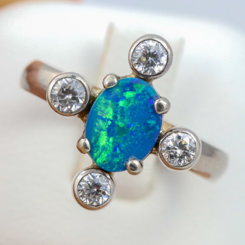 7 SIZE  FIREY OPAL  DOUBLET RING SILVER WITH CUBIC ZICONIA [SOJ6313]