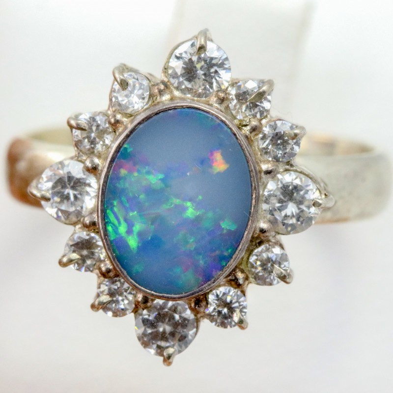 7 SIZE  FIREY OPAL  DOUBLET RING SILVER WITH CUBIC ZICONIA [SOJ6315]