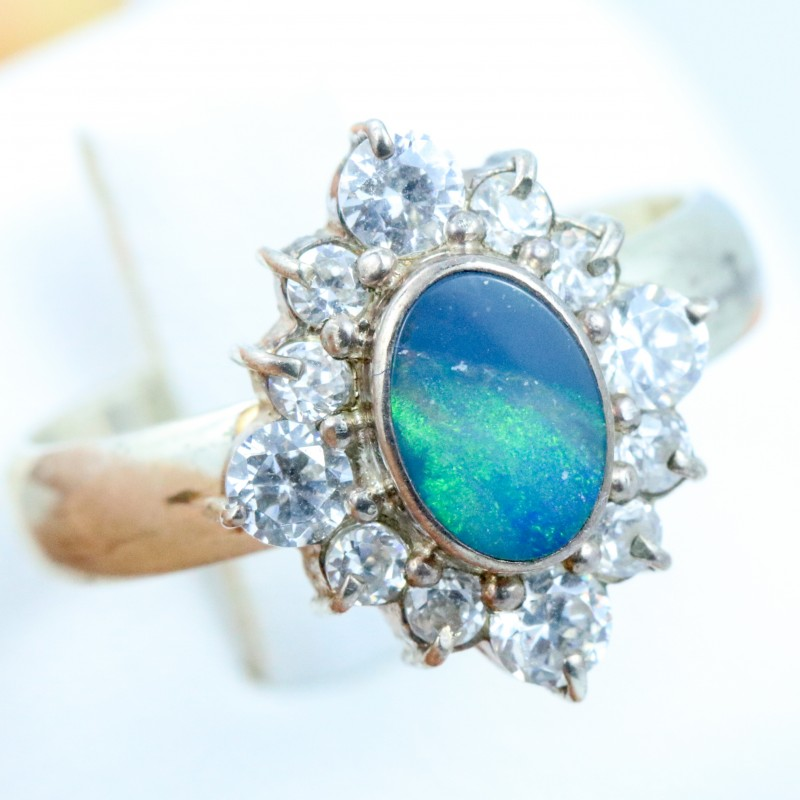 7 SIZE  FIREY OPAL  DOUBLET RING SILVER WITH CUBIC ZICONIA [SOJ6316]