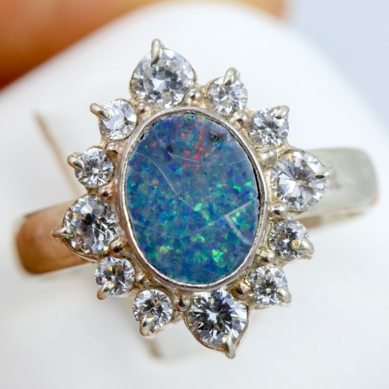 7 SIZE  FIREY OPAL  DOUBLET RING SILVER WITH CUBIC ZICONIA [SOJ6317]