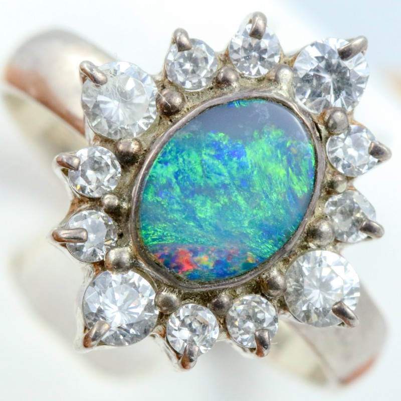 6.5 SIZE  FIREY OPAL  DOUBLET RING SILVER WITH CUBIC ZICONIA [SOJ6320]