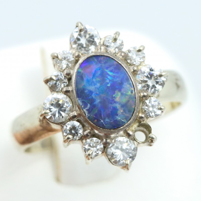 6.5 SIZE  FIREY OPAL  DOUBLET RING SILVER WITH CUBIC ZICONIA [SOJ6324]