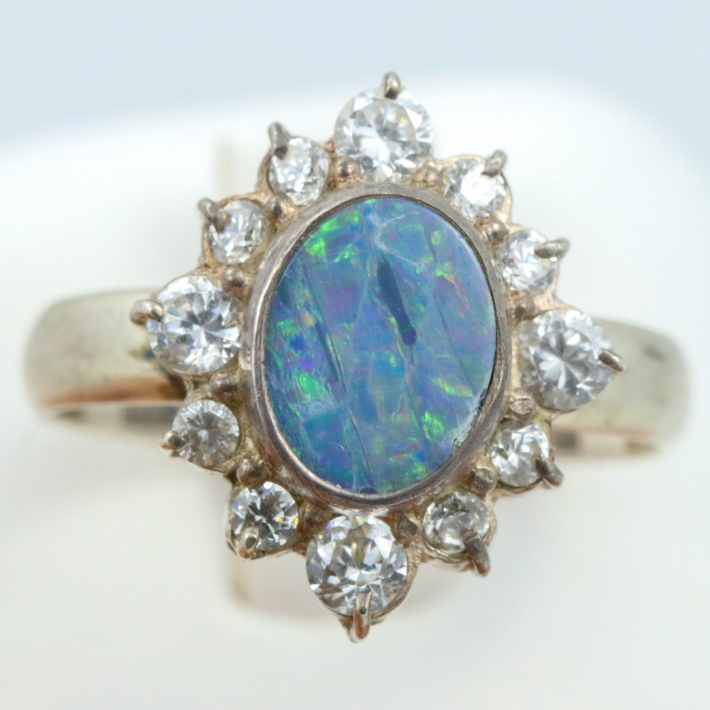 9 SIZE  FIREY OPAL  DOUBLET RING SILVER WITH CUBIC ZICONIA [SOJ6325]