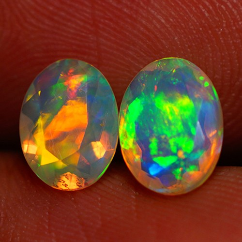 8X6 MM TOP GEM! FLASHY MULTI COLOR FACETED OPAL PAIR -AC175