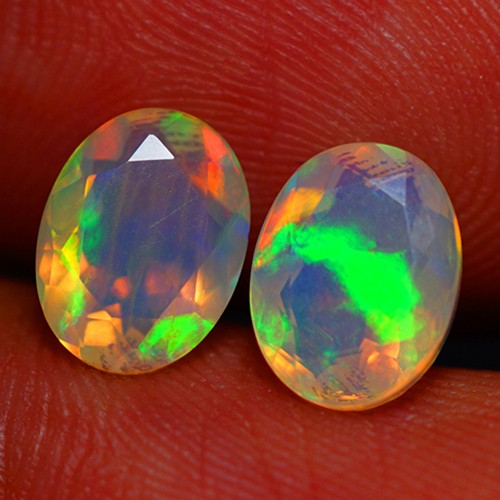 8X6 MM TOP QUALITY ETHIOPIAN CRYSTAL FACETED OPAL PAIR -AC177