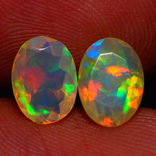8X6 MM AAA QUALITY ETHIOPIAN CRYSTAL FACETED OPAL PAIR -AC181