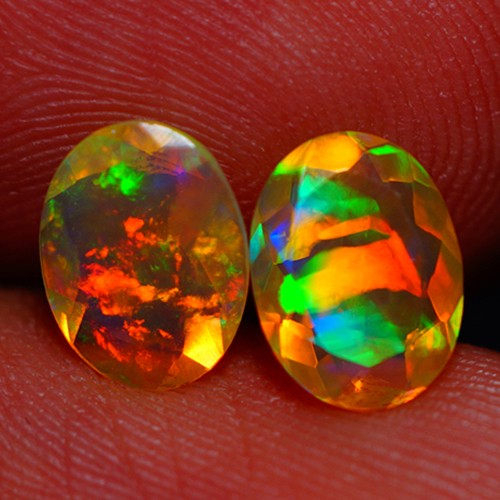 8X6 MM BROADFLASH PATTERN MULTI COLOR FACETED OPAL PAIR -AC182
