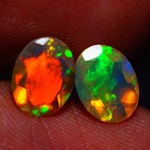8X6 MM TOP CLASS! FLASHY MULTI COLOR FACETED OPAL PAIR -AC189