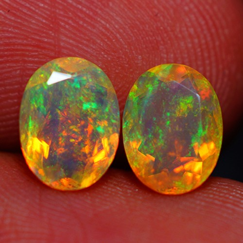 8X6 MM AAA QUALITY ETHIOPIAN CRYSTAL FACETED OPAL PAIR -AC190