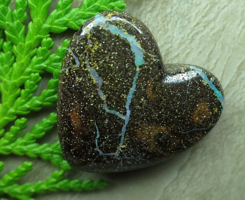 """16cts.""""BOULDER OPAL~DRILLED HEART SHAPE STONE"""""""
