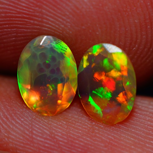 7x5 MM AAA QUALITY ETHIOPIAN FACETED OPAL PAIR -AB389