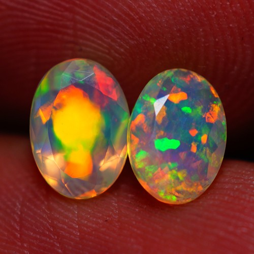 7x5 MM BROADFLASH PATTERN EXQUISITE FLASHY MULTI ETHIOPIAN FACETED OPAL PAI