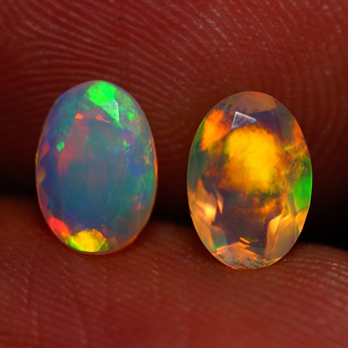 7x5 MM TOP GRADE BEAUTIFUL FLASHY MULTI COLOR ETHIOPIAN FACETED OPAL PAIR -