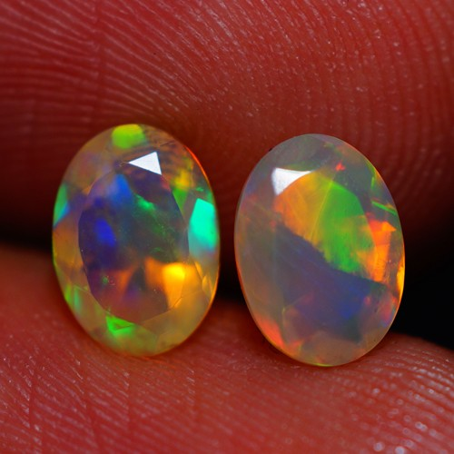 7x5 MM TOP QUALITY ETHIOPIAN FACETED OPAL PAIR -AB400