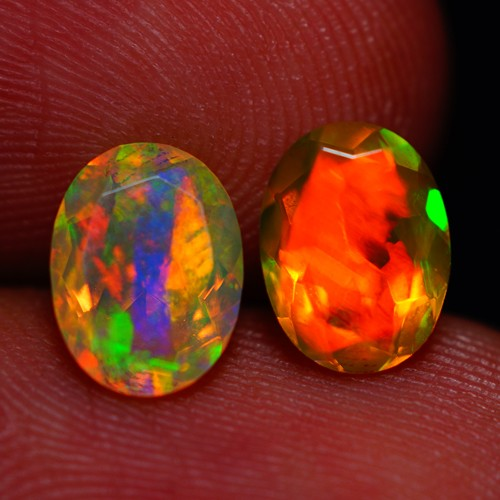 8X6 MM TOP GEM! BEAUTIFUL FLASHY MULTI COLOR ETHIOPIAN FACETED OPAL PAIR -A