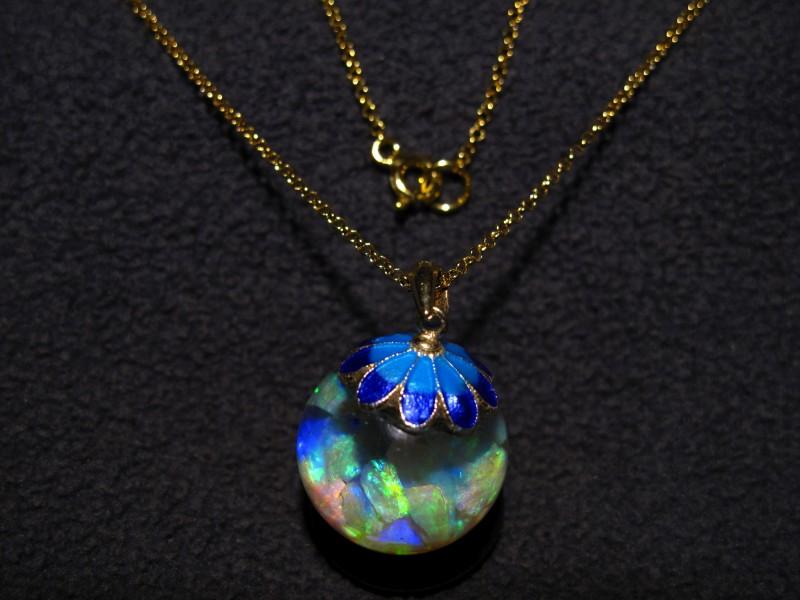 Floating Opal Necklace pendant 6+ Carats beautiful bright Lightning Ridge o