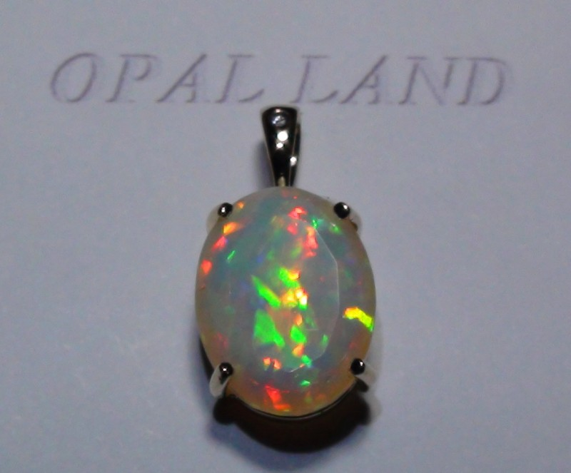 8.35 ct Stunning 10k Solid Gold Pendant Gem Rainbow Welo Facet Opal