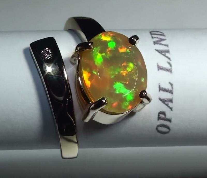 Gold 10k  Opal Facet Ring Sz 6.25