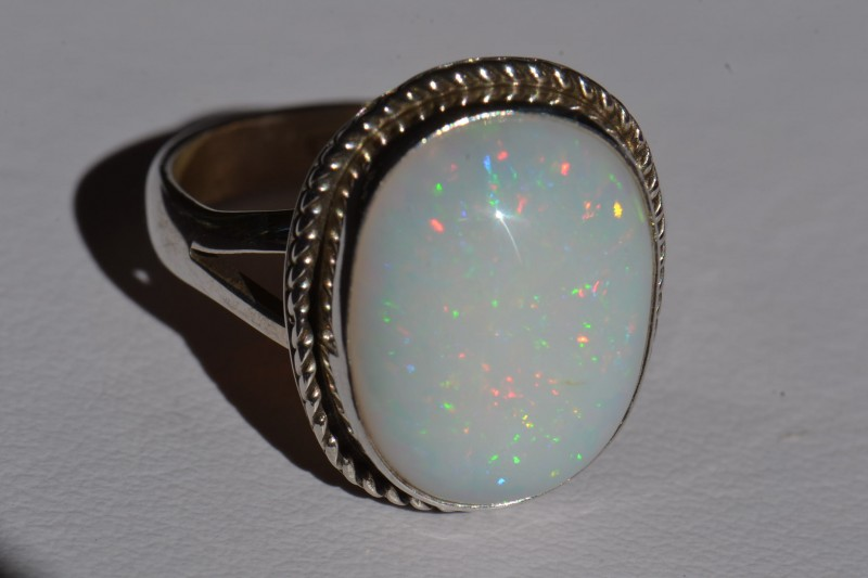 Sz8 SOLID ETHIOPIAN PINFIRE OPAL HIGH QUALITY .925 STERLING FABULOUS RING