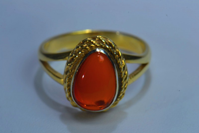 Sz8 SOLID MEXICAN CRYSTAL OPAL GOLD HIGH QUALITY .925 STERLING FABULOUS RIN