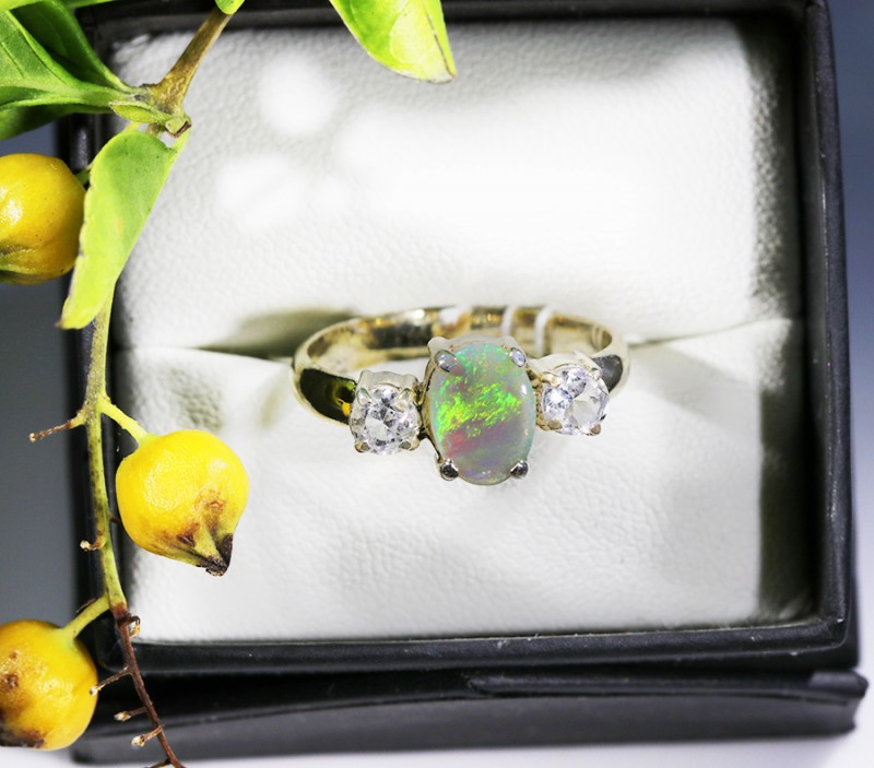 8 RING SIZE SOLID OPAL WITH TOPAZ FACTORY DIRECT [SOJ1706]7