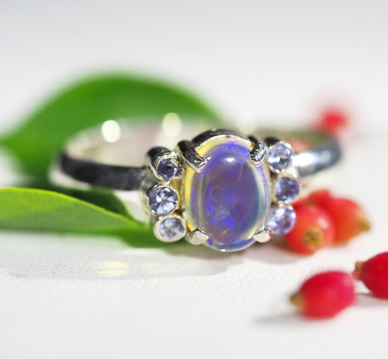 8.5 RING SIZE OPAL+TANZANITE SILVER-FACTORY DIRECT [SOJ3564]