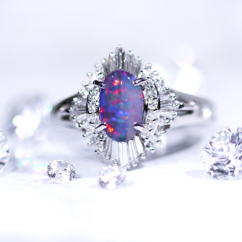 Lovely prism black opal stone set in platinum ring