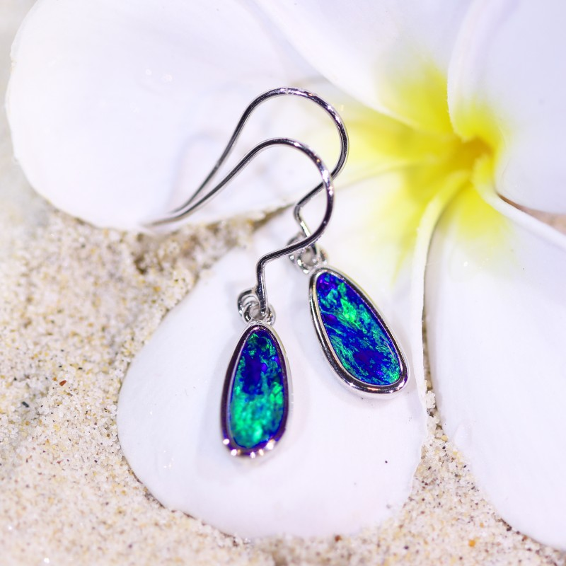 Ocean Blue Elegant Opal Doublet Earrings