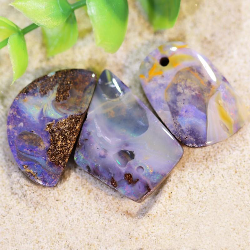 Drilled 3 Boulder opal stones parcel