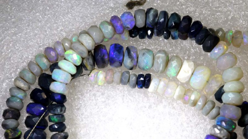 58.70CTS BLACK OPAL BEADS STRAND TBO-7931