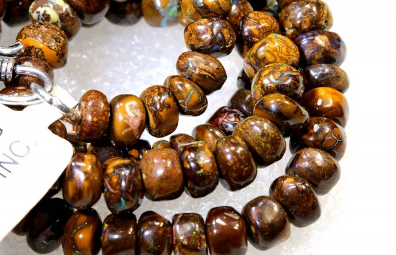 177.35 CTS BOULDER OPAL DRILLED BEADS STRAND LO-4673