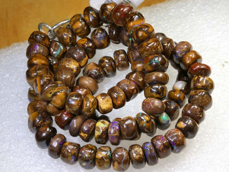 222CTS BOULDER OPAL DRILLED BEADS STRAND LO-4674