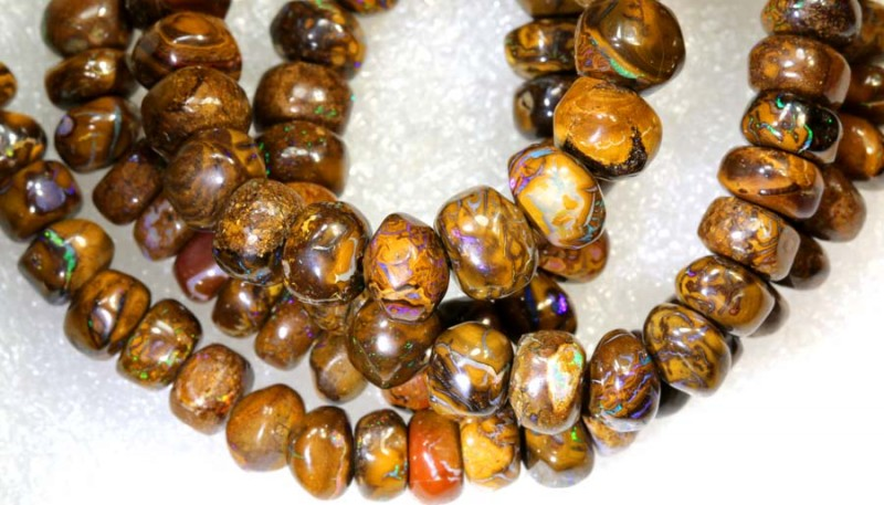 191.40CTS BOULDER OPAL DRILLED BEADS STRAND LO-4679