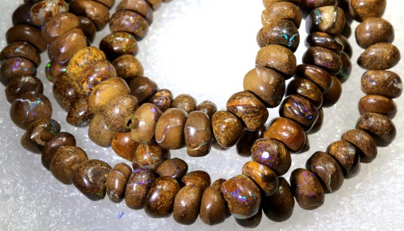 109.20CTS BOULDER OPAL DRILLED BEADS STRAND LO-4680