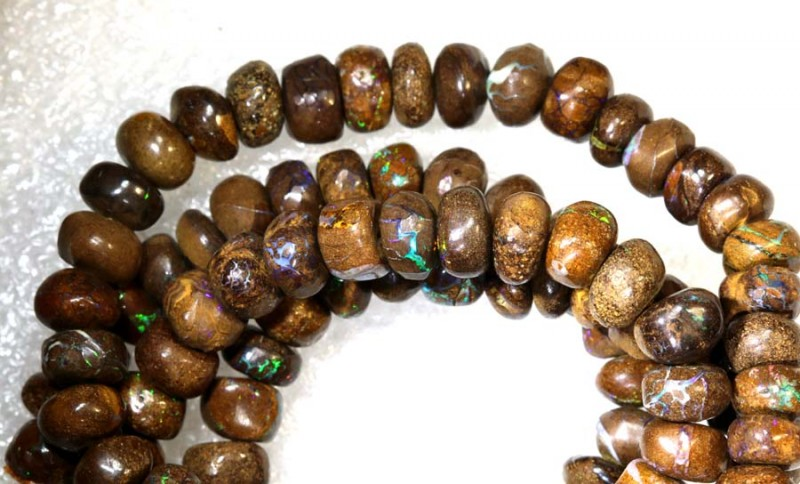 132.90CTS BOULDER OPAL DRILLED BEADS STRAND LO-4685