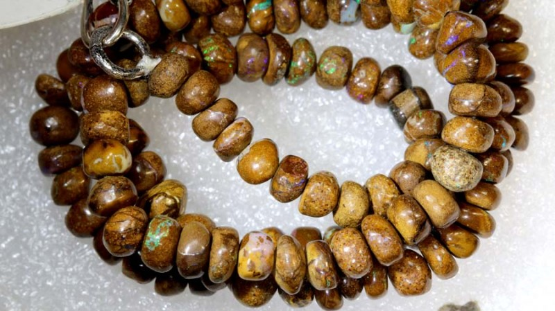 105.15CTS BOULDER OPAL DRILLED BEADS STRAND LO-4686