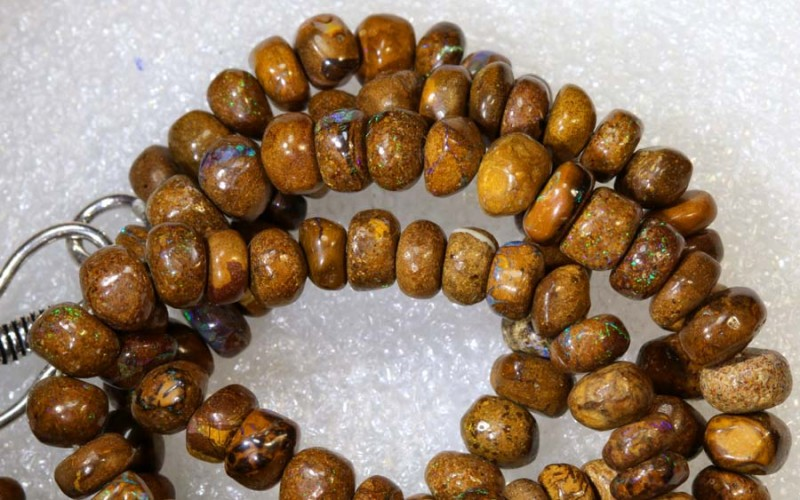 112.85CTS BOULDER OPAL DRILLED BEADS STRAND LO-4688