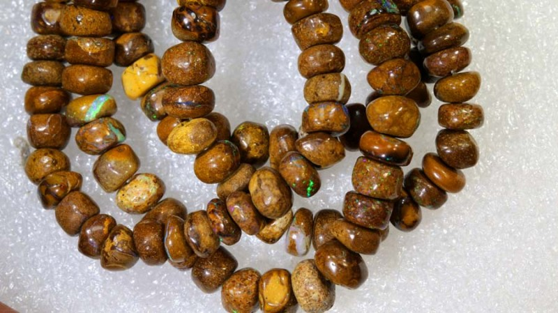 92.35CTS BOULDER OPAL DRILLED BEADS STRAND LO-4689